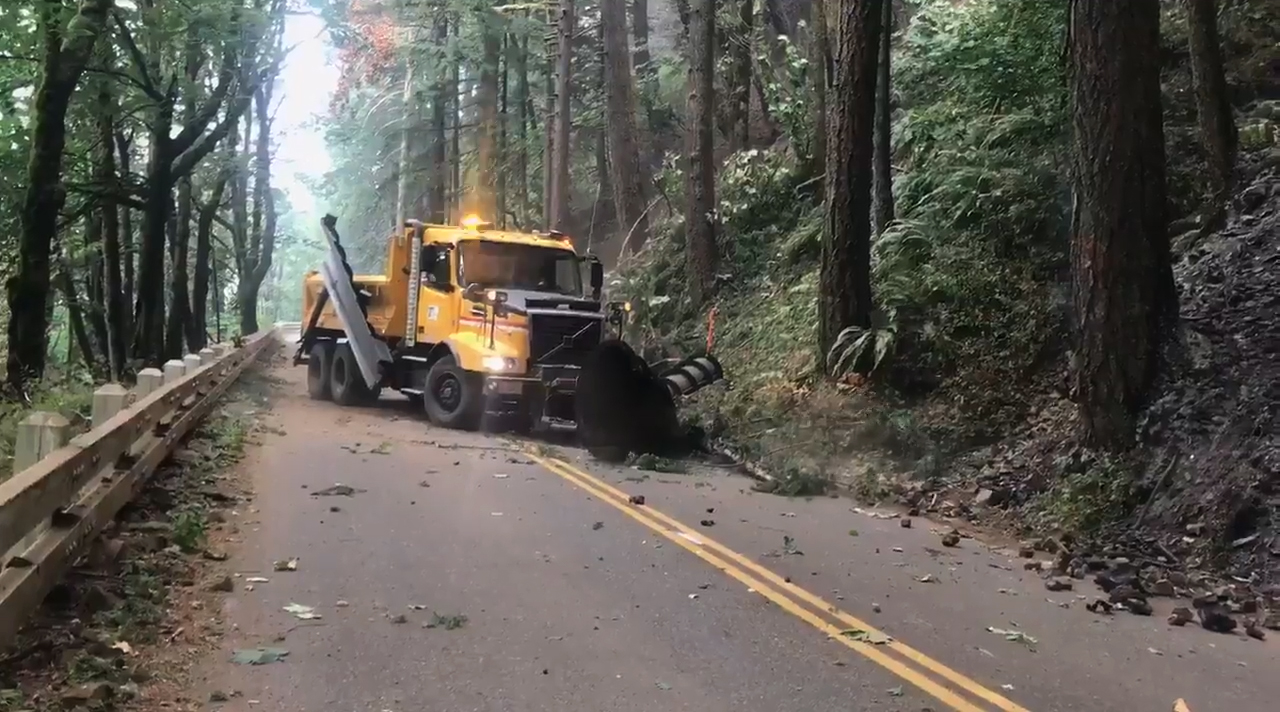 ODOT crews plowing debris from Historic Columbia River Hwy